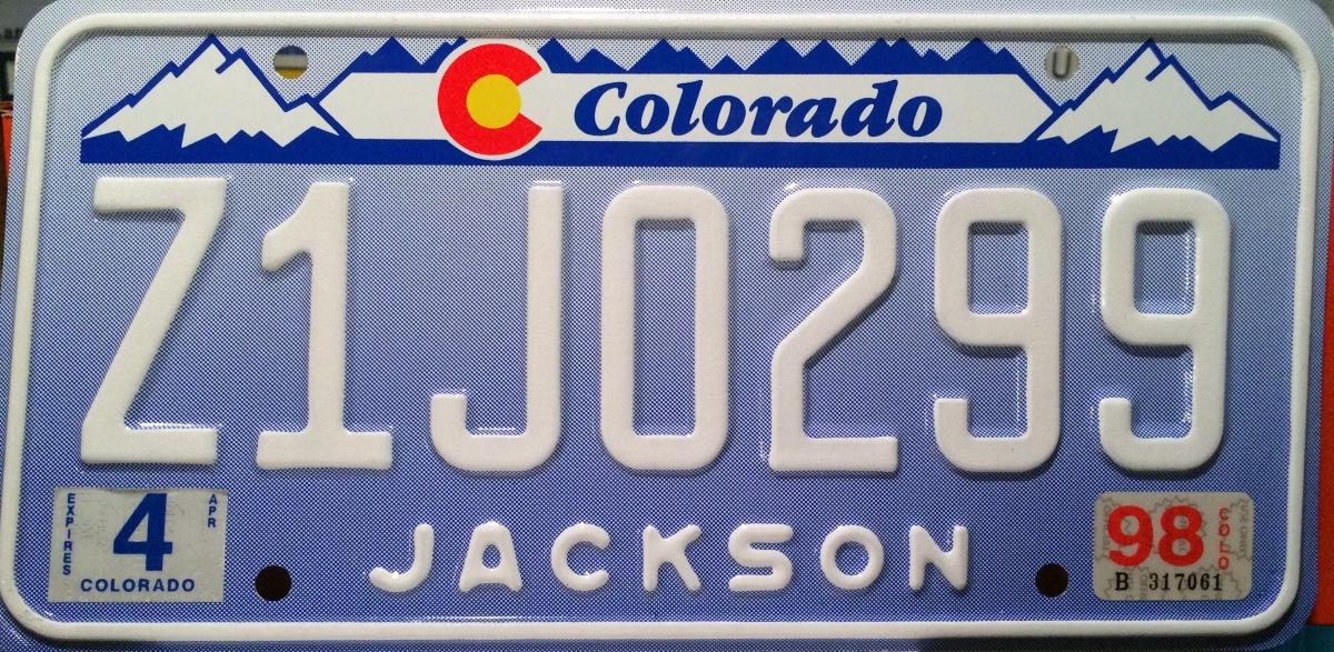 Jackson County Colorado License Plate Denim Designer Z1J ZJ