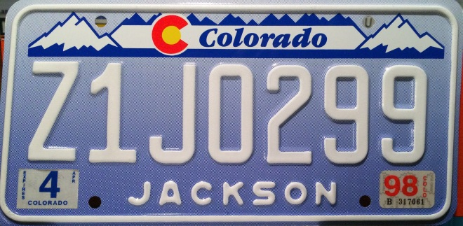 Jackson County Colorado License Plate Denim Designer Z1J ZJ