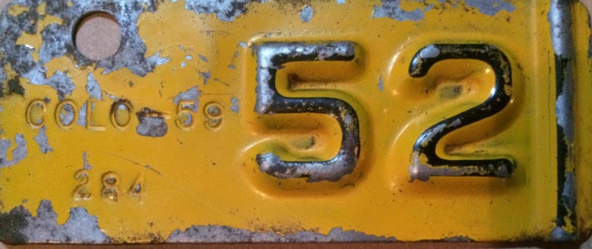 1952 Jackson County Colorado License Plate Tab ZJ 59 284 Larry Scott
