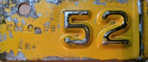 1952 Jackson County Colorado License Plate Tab ZJ 59 284 Larry Scott
