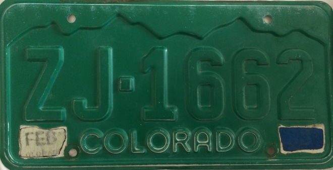 Jackson County Colorado License Plate ZJ 1662 Greenie Bennett Sizer