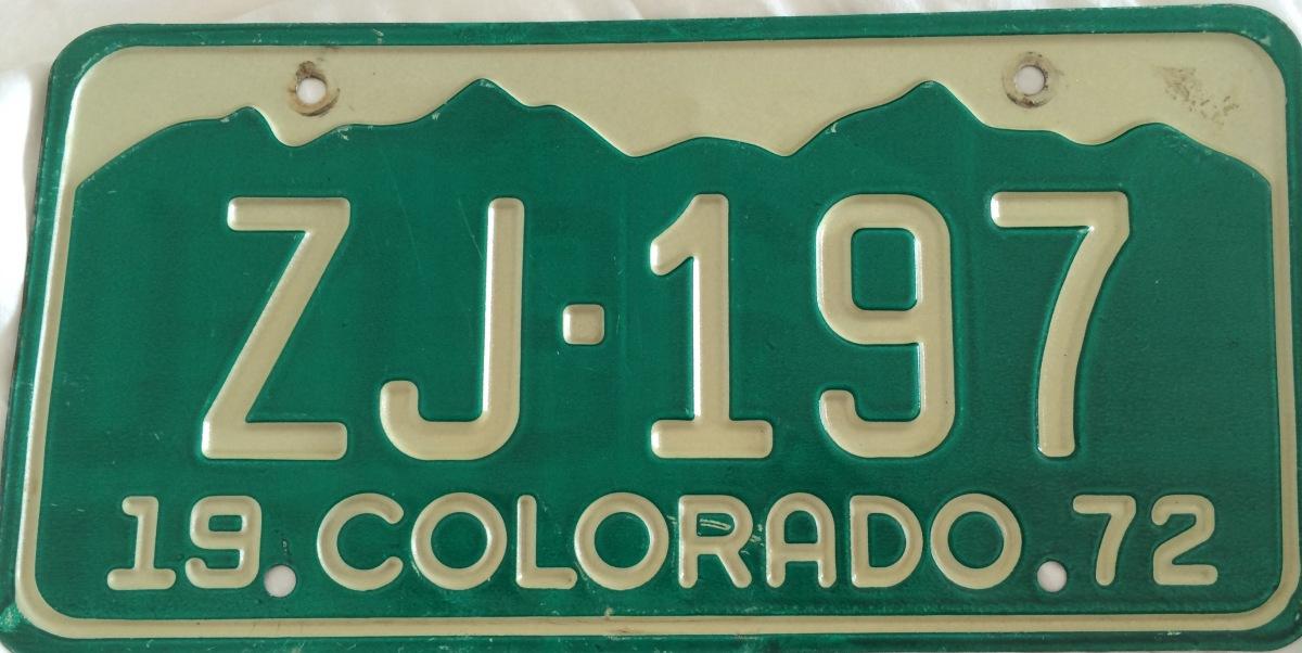 Jackson County Colorado License Plate ZJ 197 Bennett Sizer