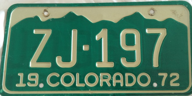 Jackson County Colorado License Plate ZJ 197 Bennett Sizer